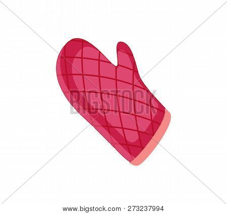 Patholder Oven Mitt Color, Glove Isolated Icon Vector. Fireproof Fabric Cloth With Squared Pattern T