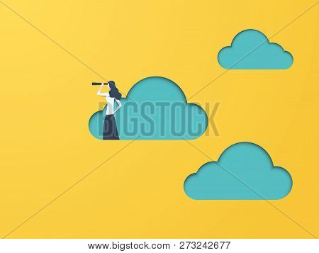 Business Vision Vector Concept With Businesswoman And Telescope. Symbol Of Business Visionary, Leade