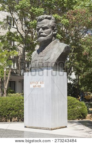 Evpatoria, Crimea, Russia - July 2, 2018: Bust Of Mikhail Vasilyevich Frunze At The Intersection Of