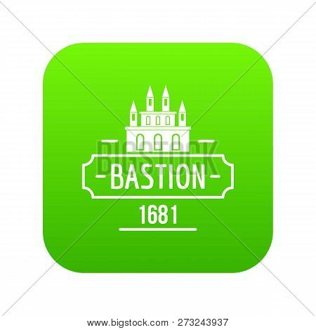 Royal Bastion Icon Green Vector Isolated On White Background