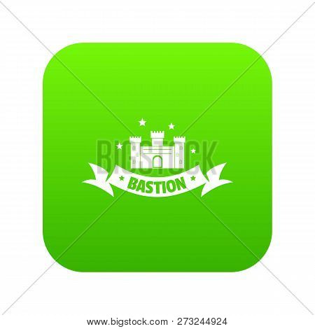 Building Bastion Icon Green Vector Isolated On White Background