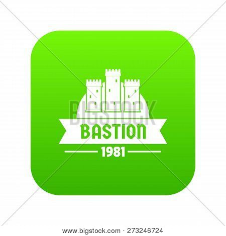Kingdom Bastion Icon Green Vector Isolated On White Background