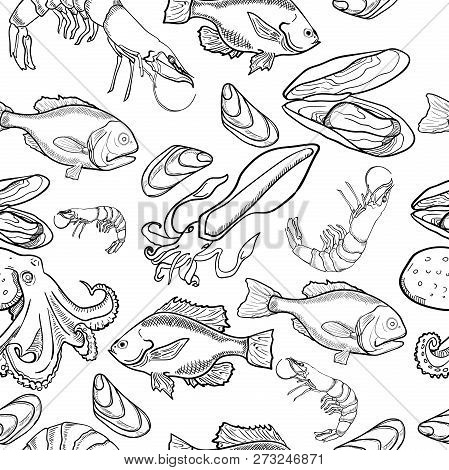 Pattern With Set Of Sea Food Products