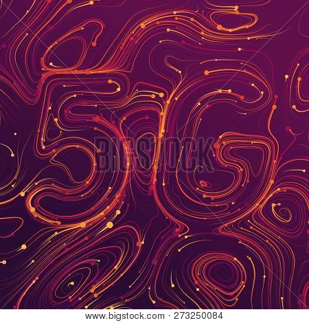 Vector Abstract 5g New Wireless Internet Connection Background. Global Network High Speed Network. A