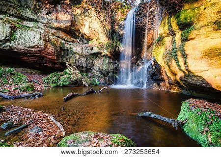 Pool Below Roughting Linn Waterfall, Which Is Well Hidden In Remote Woodland, Located In Northern No