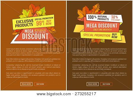 Advertisement Posters With Maple Leaves. Autumn Fall Costs Reduction Web Banner. Mega Discounts On E