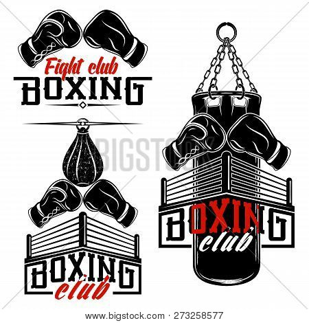 Set From The Vector Images Devoted To Boxing. Boxing Gloves, Ring, Punching Bag. Inscriptions - Boxi