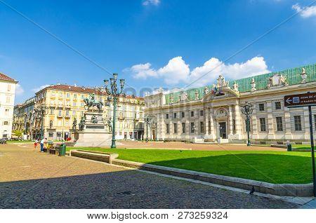Biblioteca Nazionale National Library Rococo Style Building On Piazza Carlo Alberto Square With Gree