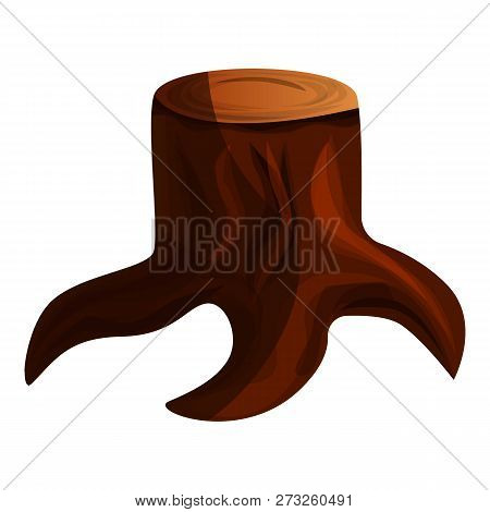 Brown Tree Stump Icon. Cartoon Of Brown Tree Stump Vector Icon For Web Design Isolated On White Back