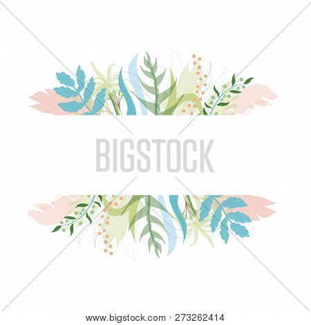 Vector Illustration Of Floral Greeting Card Template Design With Place For Your Text. Jungle Plant H