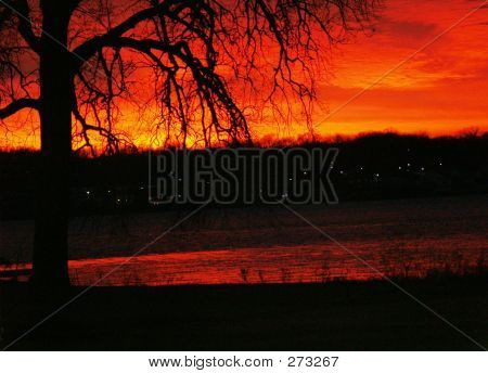 Sunset Over The Mississippi River