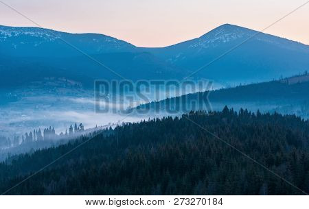 Early Morning Spring Carpathian Mountains Plateau Landscape With Snow-covered Ridge Tops In Far, Ukr