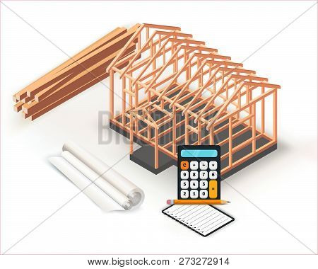 Timber Frame House Base Construction Design. Architecture Project Building, Planning And Calculation