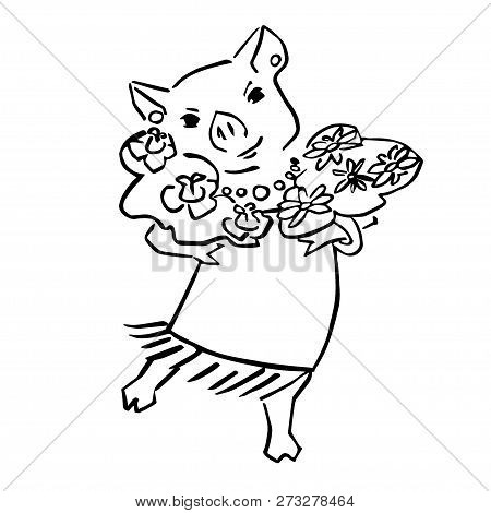 Anthropomorphic Black And Wite Pig With Posy