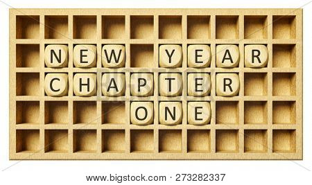 a wooden grid with cubes new year chapter one 3d illustration