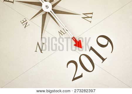 Vintage Compass New Year 2019 3d illustration