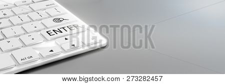 A typical computer keyboard white details 3d illustration