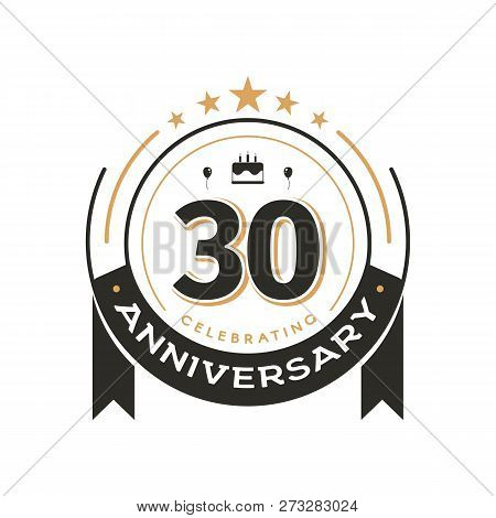 Birtday Vintage Logo Template To 30 Th Anniversary Circle Retro Isolated Vector Emblem. Thirty Years