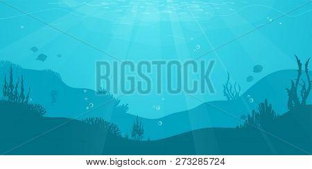 Underwater Cartoon Flat Background With Fish Silhouette, Seaweed, Coral. Ocean Sea Life, Cute Design