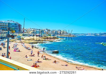 Bugibba, Malta - June 14, 2018: The Bugibba Perched Beach Is One Of The Best In The City With Specia