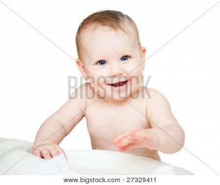 bright picture of adorable baby girl over white