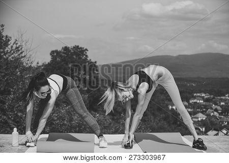 Women Training On Natural Landscape, Sport. Sexy Women Athletes Do Exercises, Training. Sport, Train