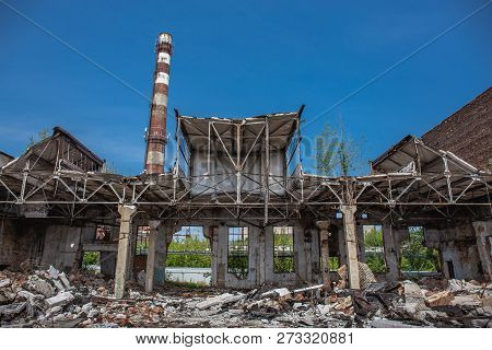 Earthquake Or War Aftermath Or Hurricane Or Other Natural Disaster, Broken Ruined Abandoned Industri
