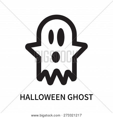 Halloween Ghost Icon Isolated On White Background. Halloween Ghost Icon Simple Sign. Halloween Ghost