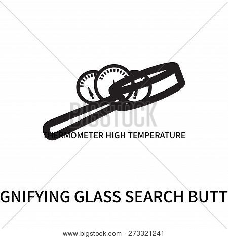 Magnifying Glass Search Button Icon Isolated On White Background. Magnifying Glass Search Button Ico