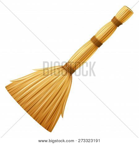 Realistic Broom, Besom. Housework Tool For Cleaning Garbage In The House And On Street. Cleaning Ser