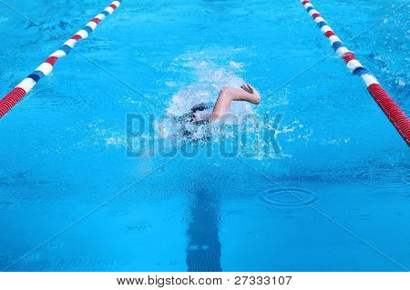 Swimmer during competition