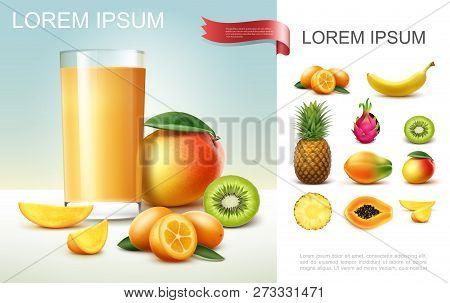 Realistic Fresh Fruit Juice Composition With Glass Of Mango Juice Kiwi Pineappple Banana Papaya Kumq
