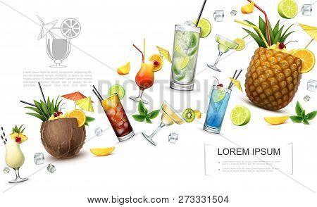 Realistic Alcoholic Drinks Concept With Pina Colada Cuba Libre Blue Lagoon Tequila Sunrise Martini M