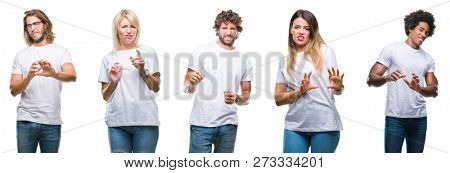 Collage of group of people wearing casual white t-shirt over isolated background disgusted expression, displeased and fearful doing disgust face because aversion reaction. With hands raised. Annoying