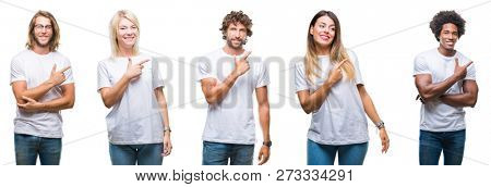 Collage of group of people wearing casual white t-shirt over isolated background cheerful with a smile of face pointing with hand and finger up to the side with happy and natural expression on face