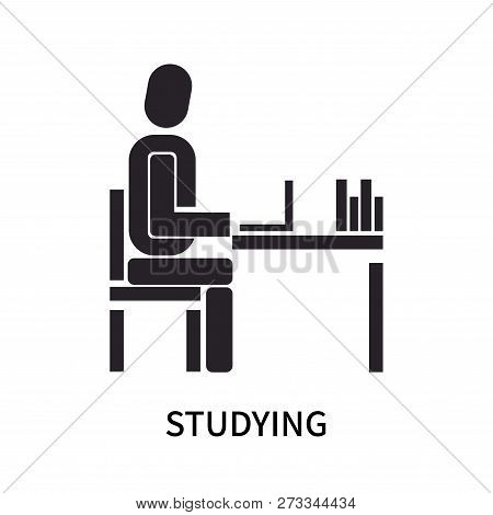 Studying Icon Isolated On White Background. Studying Icon Simple Sign. Studying Icon Trendy And Mode