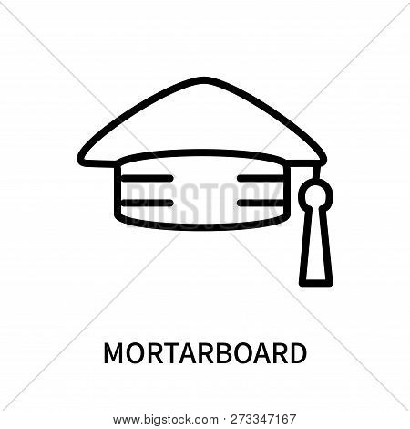 Mortarboard Icon Isolated On White Background. Mortarboard Icon Simple Sign. Mortarboard Icon Trendy