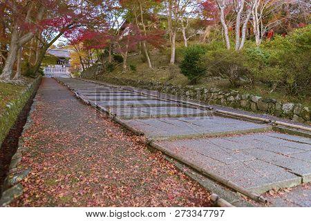 Idyllic Uphill Path In Bishamondo, Kyoto, Japan