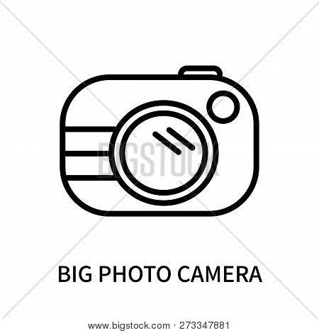 Big Photo Camera Icon Isolated On White Background. Big Photo Camera Icon Simple Sign. Big Photo Cam