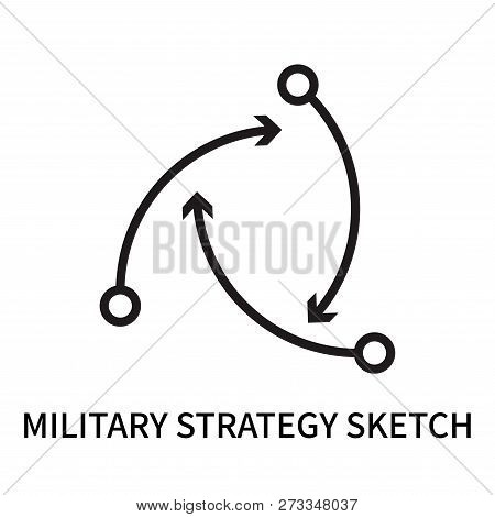Military Strategy Sketch Icon Isolated On White Background. Military Strategy Sketch Icon Simple Sig