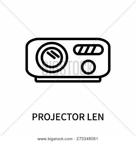Projector Len Icon Isolated On White Background. Projector Len Icon Simple Sign. Projector Len Icon