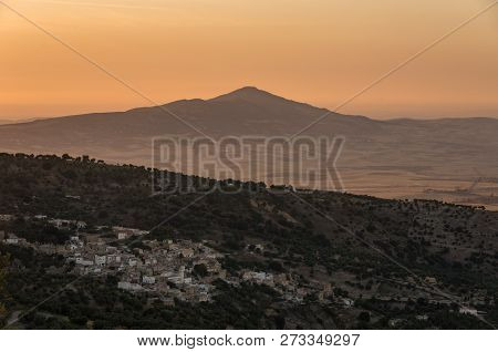 Hills near Meknes and Fez. Sunset landscape. Morocco poster