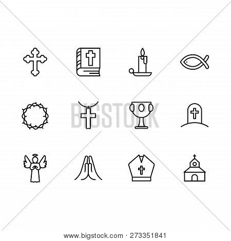 Basic Rgbsimple Set Symbols Religion And Church Line Icon. Contains Such Icon Religious Cross, Holy
