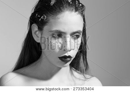 Cute Woman Or Pretty Girl, Fashion Model With Stylish Makeup, Black Lips, Lipstick, Colorful Freckle