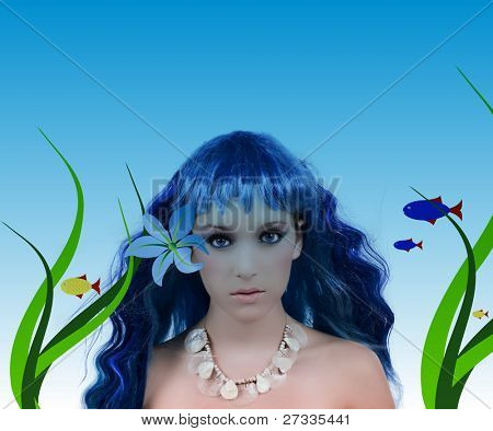Underwater scene ; mermaid with beautiful make up, illustrated fish, flower, and leaves