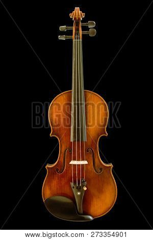 Front View Of Vintage Violin Isolated On Black Background, Clipping Path.