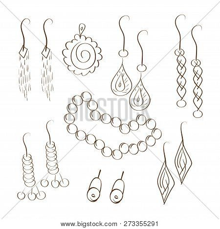 Bijouterie. Jewellery. Chain Earrings. Set. Sketch, Doodle. On A White Background.
