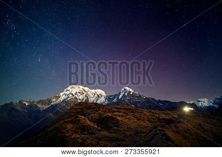 Himalayas Snow Peak At Night Sky