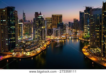 Scenic view of Dubai Marina in UAE after sunset