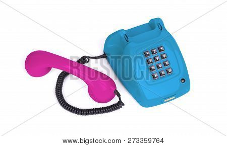 Vintage Multi Colored Telephone With A White Background